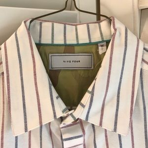 FIVE FOUR white button down blue and red striped